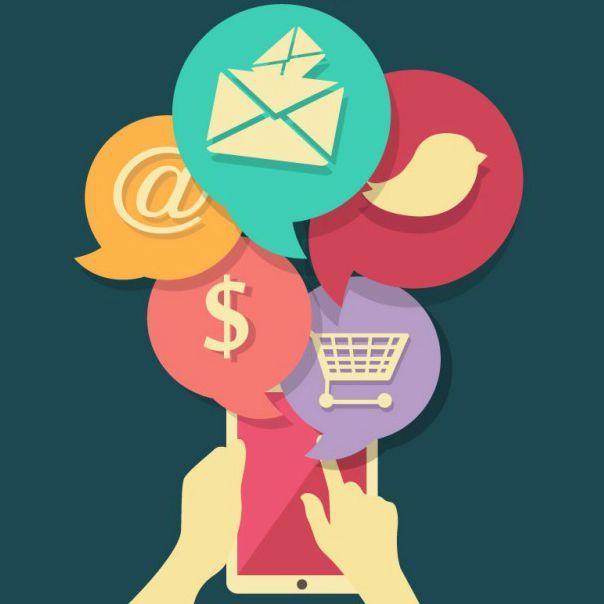 dseño con iconos de compras en linea